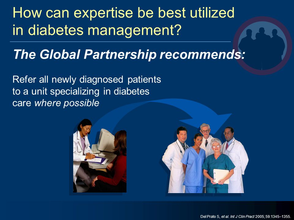 How can expertise be best utilized in diabetes management? The Global Partnership recommends: Refer all newly diagnosed patients to a unit specializin