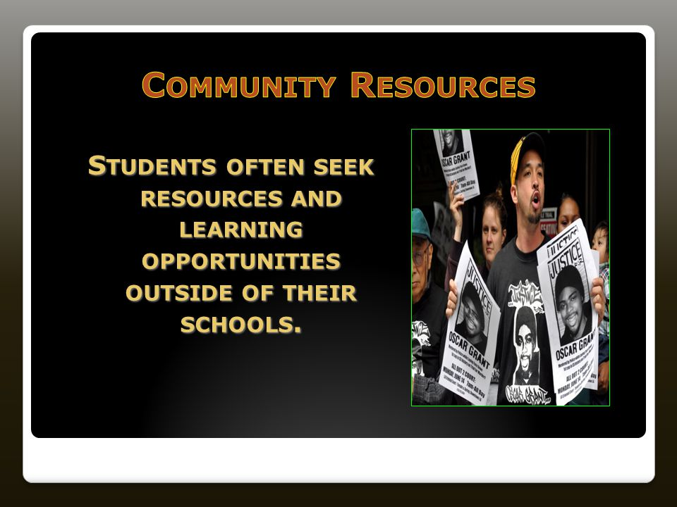 S TUDENTS OFTEN SEEK RESOURCES AND LEARNING OPPORTUNITIES OUTSIDE OF THEIR SCHOOLS.