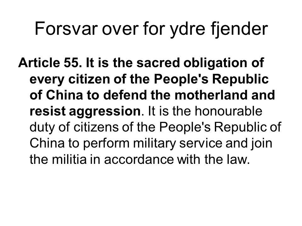 Forsvar over for ydre fjender Article 55.