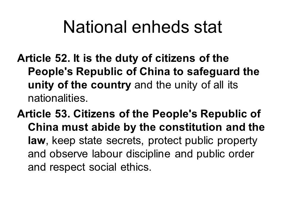 National enheds stat Article 52.