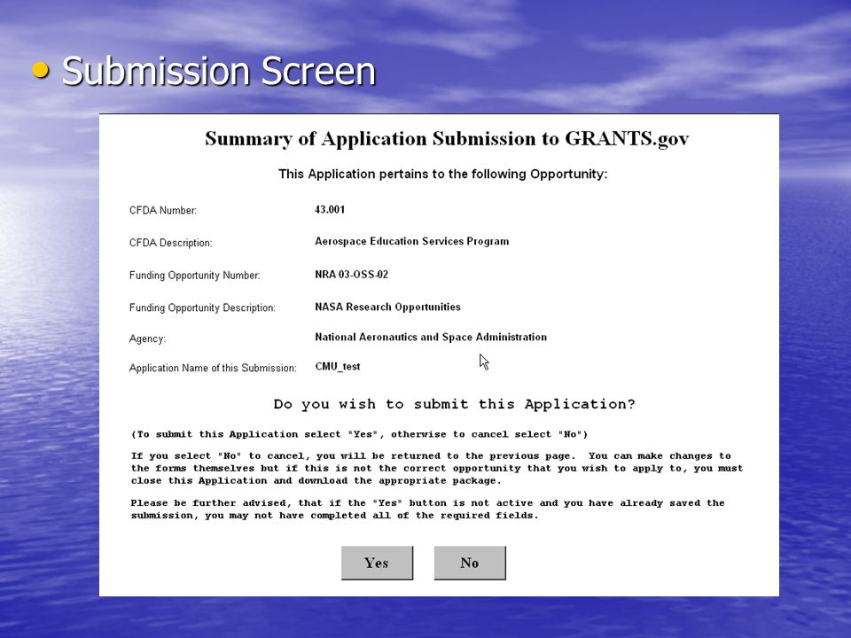 Submission Screen Submission Screen