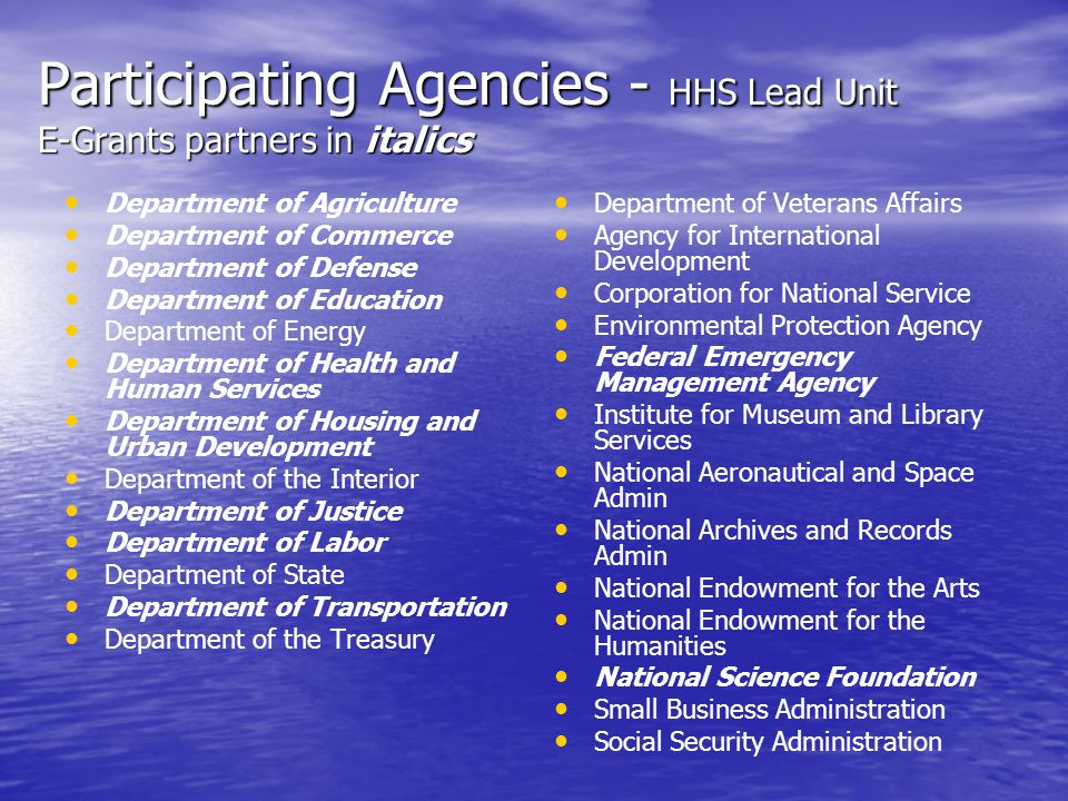 Participating Agencies - HHS Lead Unit E-Grants partners in italics Department of Agriculture Department of Commerce Department of Defense Department of Education Department of Energy Department of Health and Human Services Department of Housing and Urban Development Department of the Interior Department of Justice Department of Labor Department of State Department of Transportation Department of the Treasury Department of Veterans Affairs Agency for International Development Corporation for National Service Environmental Protection Agency Federal Emergency Management Agency Institute for Museum and Library Services National Aeronautical and Space Admin National Archives and Records Admin National Endowment for the Arts National Endowment for the Humanities National Science Foundation Small Business Administration Social Security Administration