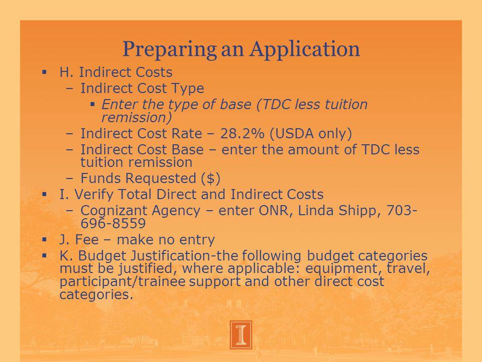 Preparing an Application  H.