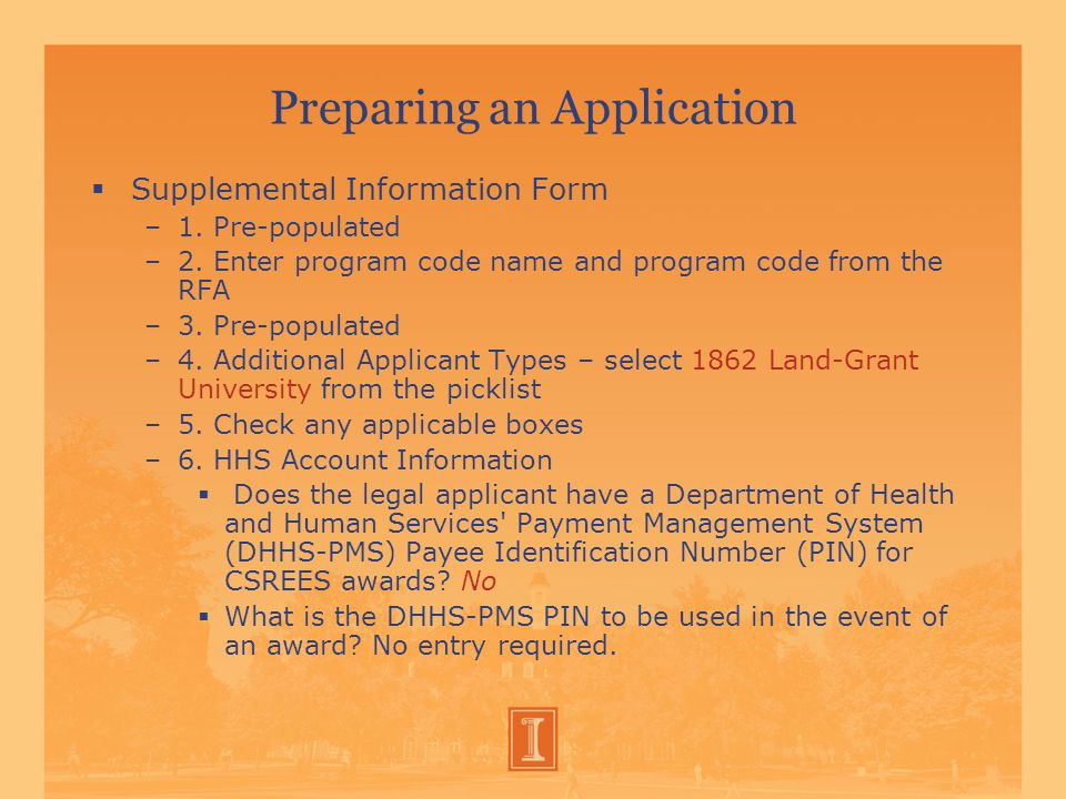 Preparing an Application  Supplemental Information Form –1.