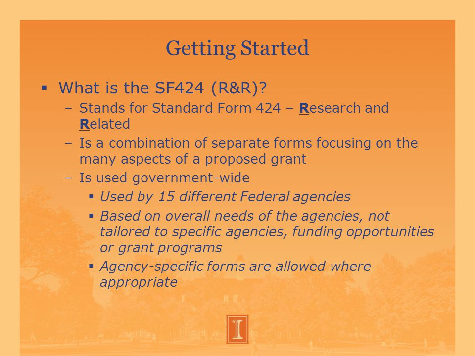 Getting Started  What is the SF424 (R&R).