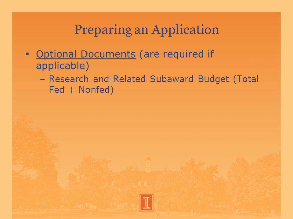 Preparing an Application  A.