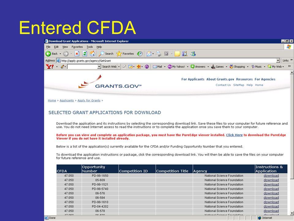 Entered CFDA