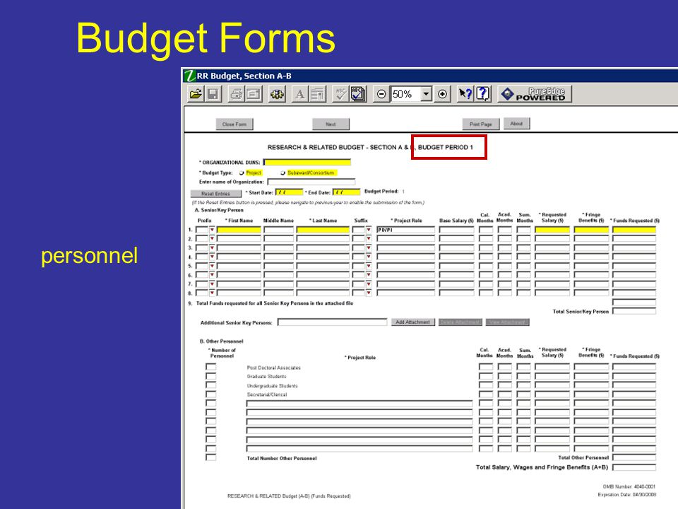 Budget Forms personnel