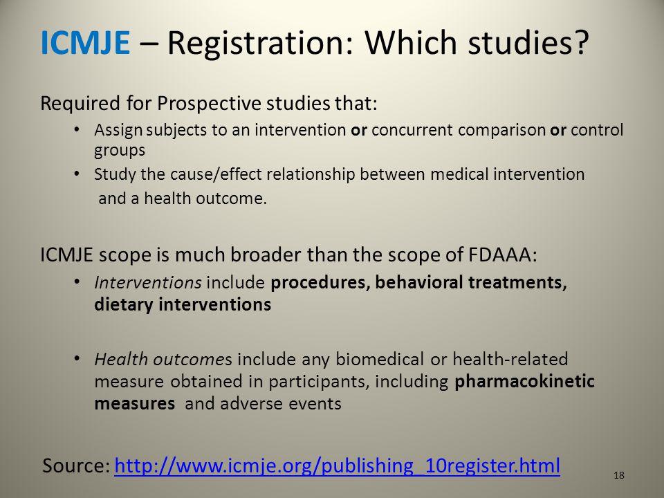 ICMJE – Registration: Which studies.