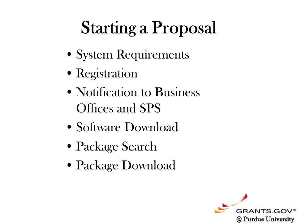 Starting a Proposal System Requirements Registration Notification to Business Offices and SPS Software Download Package Search Package Download