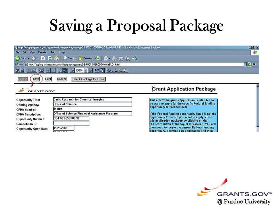 Saving a Proposal Package