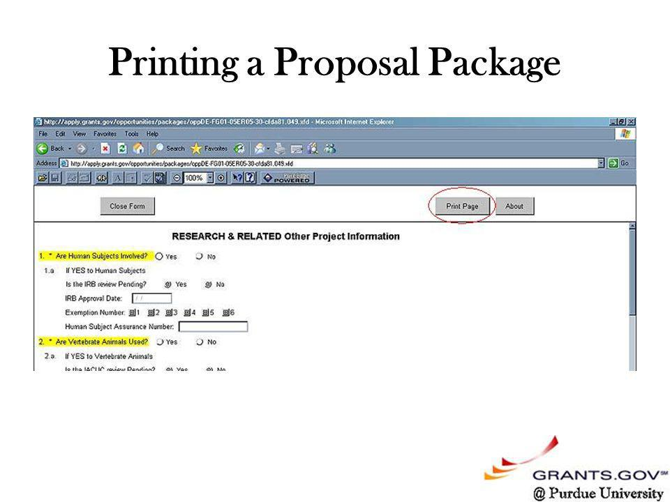 Printing a Proposal Package