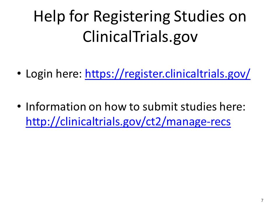 ClinicalTrials.gov can be searched in real time to find enrolling and completed studies including: Conditions Interventions Outcome measures Sponsors/collaborators Locations Phases Dates (Primary completion date, study start date etc.) Results Gender-based searches (such as heart attack and women. ) 8