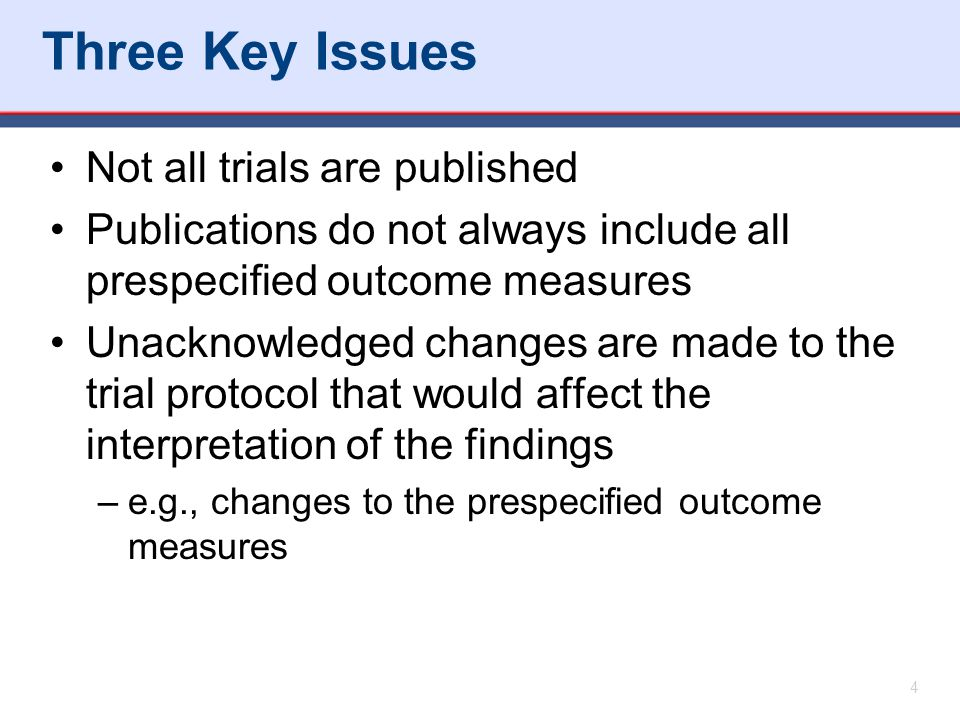 Three Key Issues Not all trials are published Publications do not always include all prespecified outcome measures Unacknowledged changes are made to