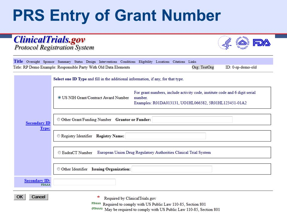 PRS Entry of Grant Number 44