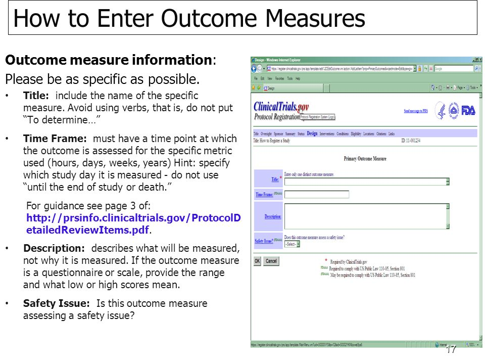 Outcome measure information: Please be as specific as possible.