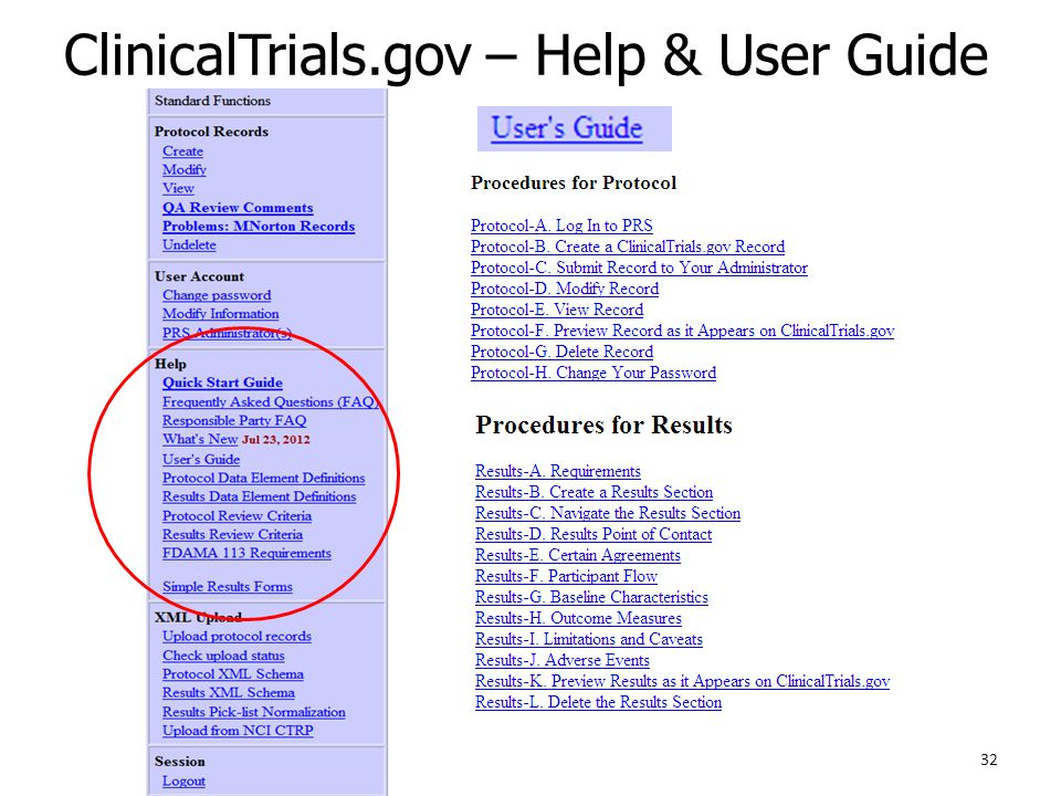 ClinicalTrials.gov – Help & User Guide 32