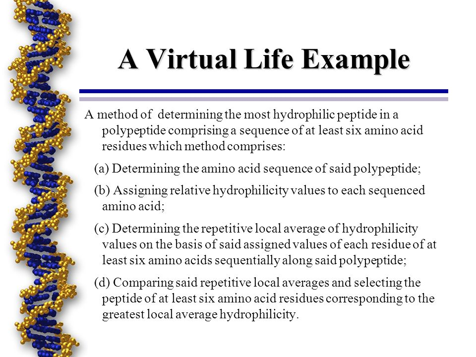 A Virtual Life Example A method of determining the most hydrophilic peptide in a polypeptide comprising a sequence of at least six amino acid residues which method comprises: (a) Determining the amino acid sequence of said polypeptide; (b) Assigning relative hydrophilicity values to each sequenced amino acid; (c) Determining the repetitive local average of hydrophilicity values on the basis of said assigned values of each residue of at least six amino acids sequentially along said polypeptide; (d) Comparing said repetitive local averages and selecting the peptide of at least six amino acid residues corresponding to the greatest local average hydrophilicity.