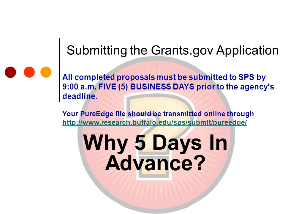 Submitting the Grants.gov Application Why 5 Days In Advance.