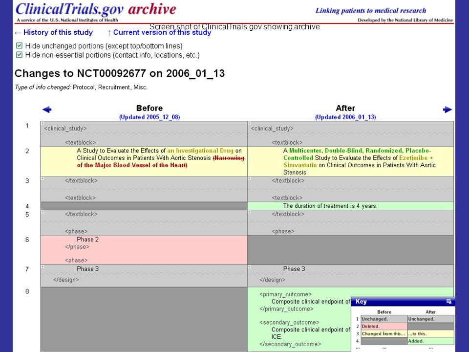 21 Screen shot of ClinicalTrials.gov showing archive