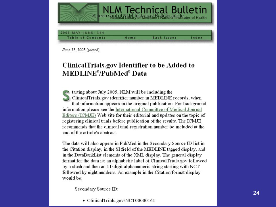 24 Screen shot of NLM Technical Bulletin article