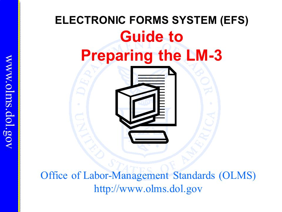 Validation www.olms.dol.gov There are two types of validations built into the form to help ensure that the correct data is being entered into the form: Page Level Validations and Form Level Validations.