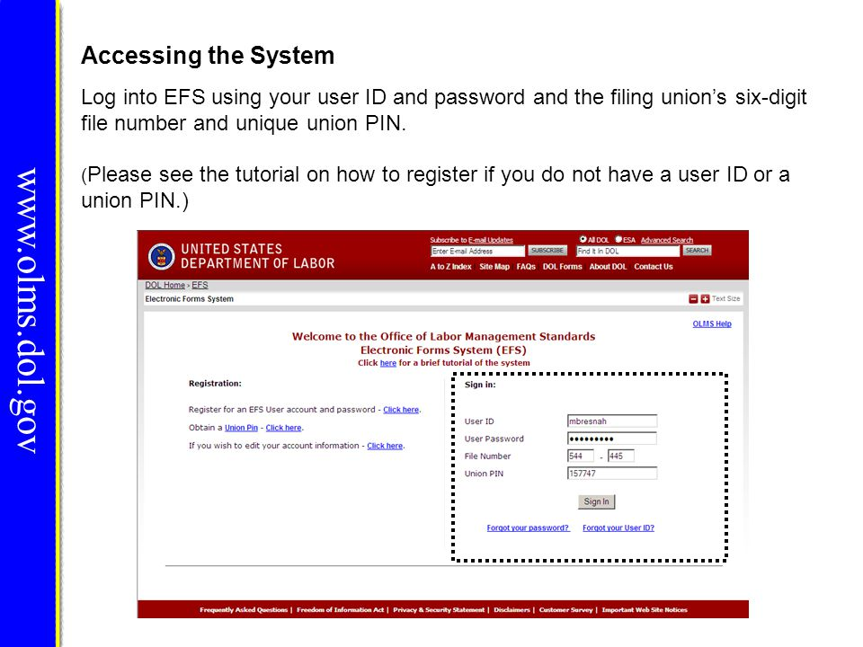 Signing the Form www.olms.dol.gov You must re-enter your password to sign the form.