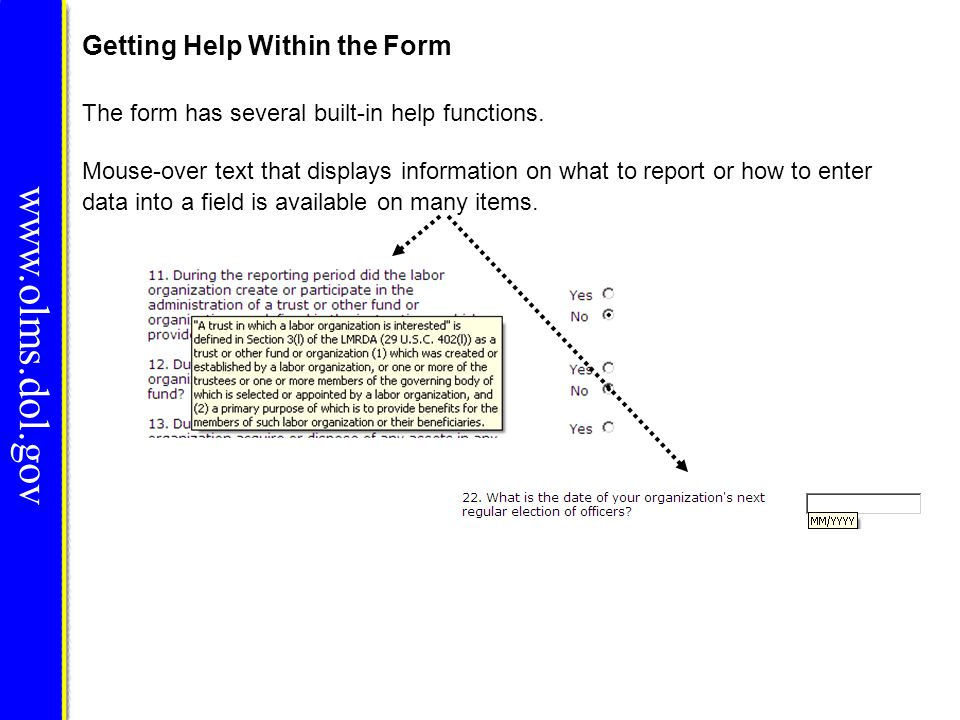 Getting Help Within the Form www.olms.dol.gov Click the Help link at the top of each page to open the form instructions for the current page in a new window.
