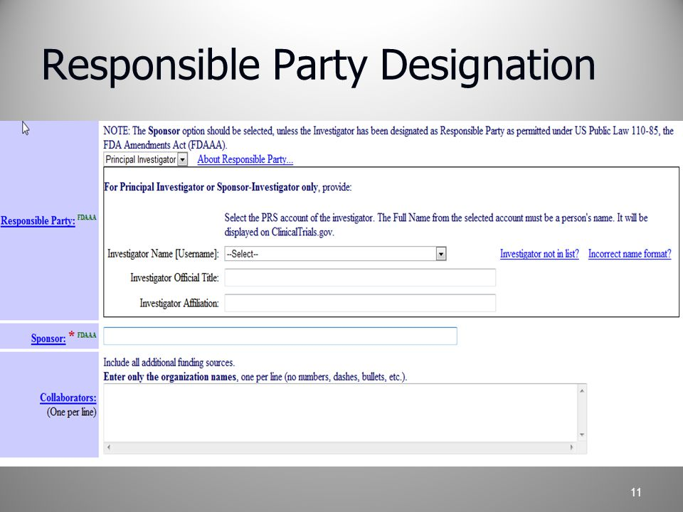 Responsible Party Designation 11