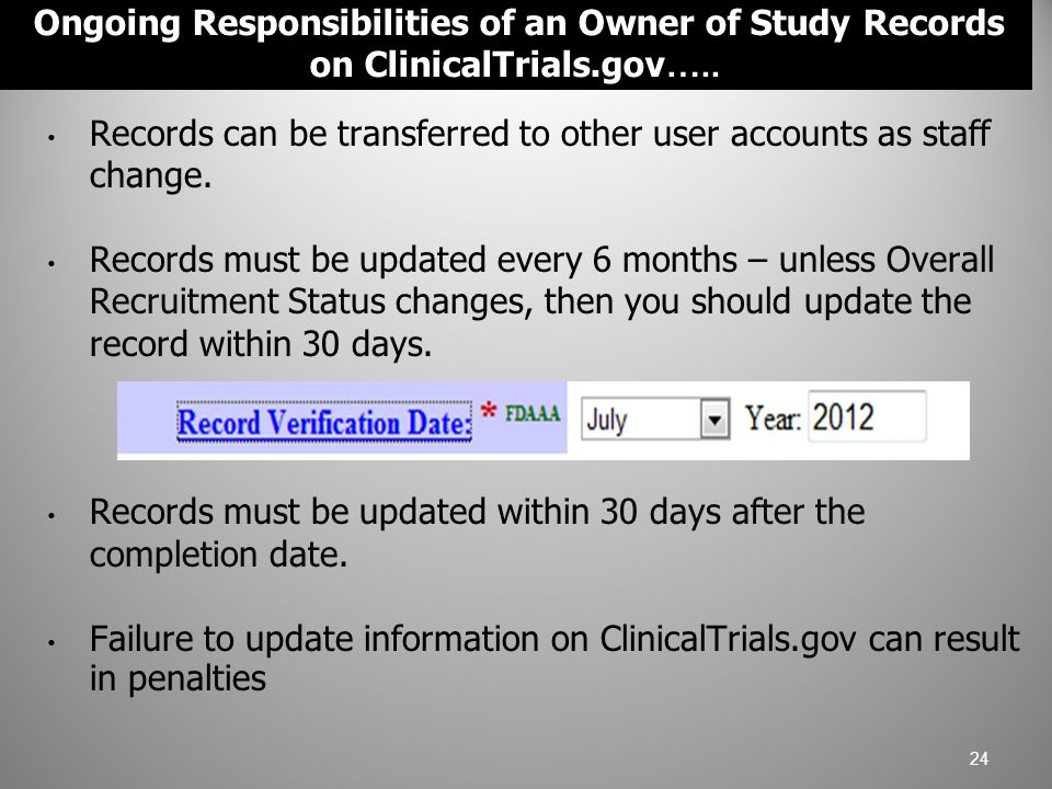 Records can be transferred to other user accounts as staff change.