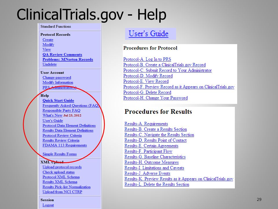 ClinicalTrials.gov - Help 29