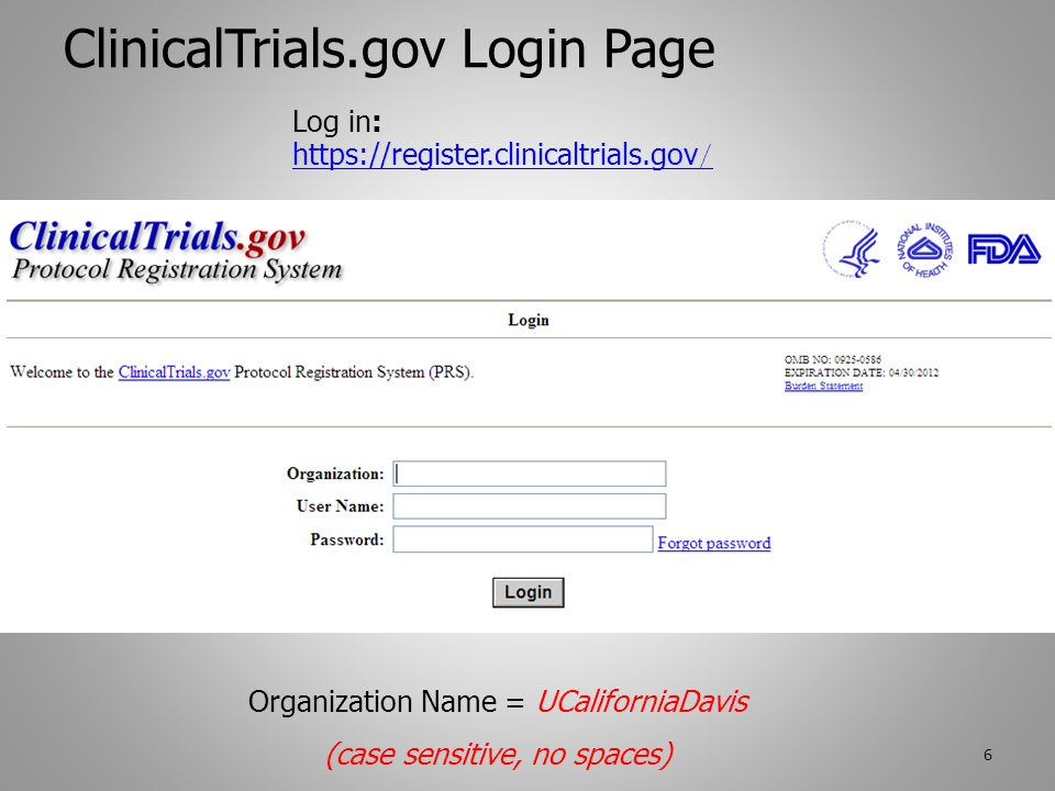 ClinicalTrials.gov Menu After log in: Blue Menu box is what everyone sees.