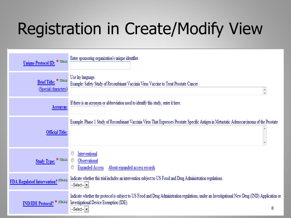 Registration in Create/Modify View 8