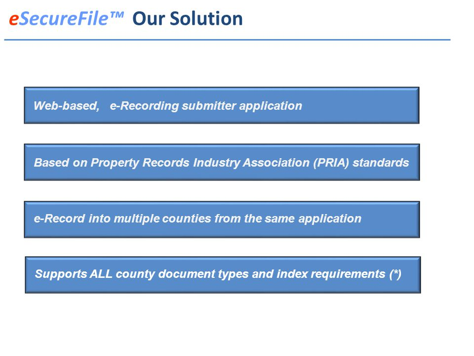 Web-based, e-Recording submitter application Based on Property Records Industry Association (PRIA) standards e-Record into multiple counties from the same application Supports ALL county document types and index requirements (*) eSecureFile™ Our Solution