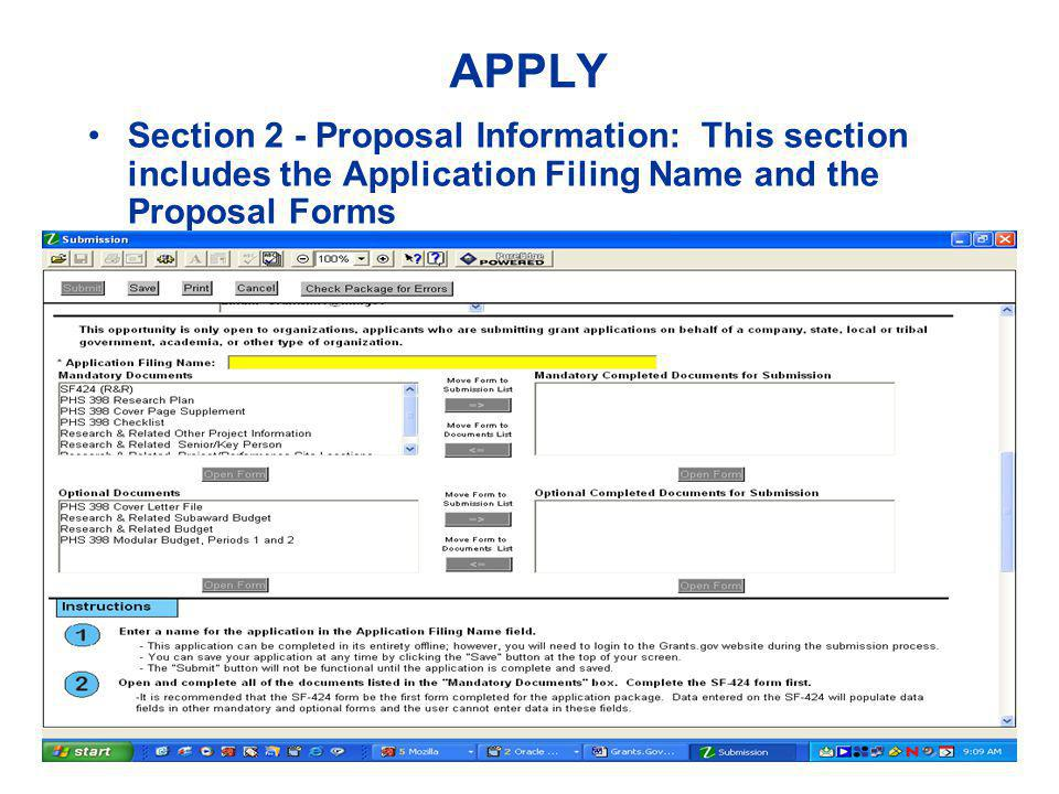 APPLY Section 2 - Proposal Information: This section includes the Application Filing Name and the Proposal Forms
