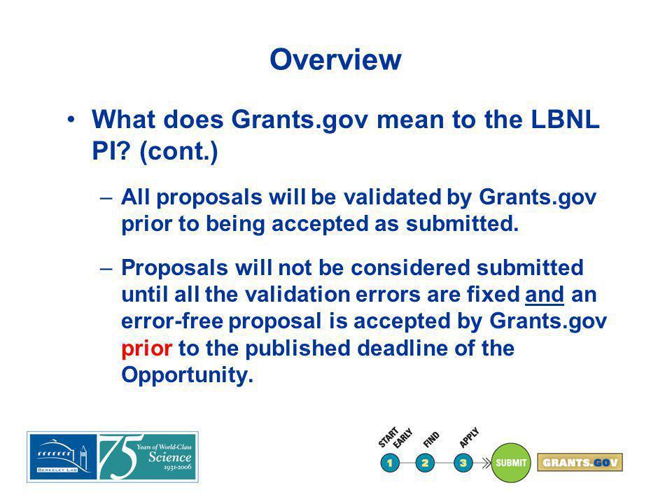 Start Early LBNL is registered in Grants.gov.
