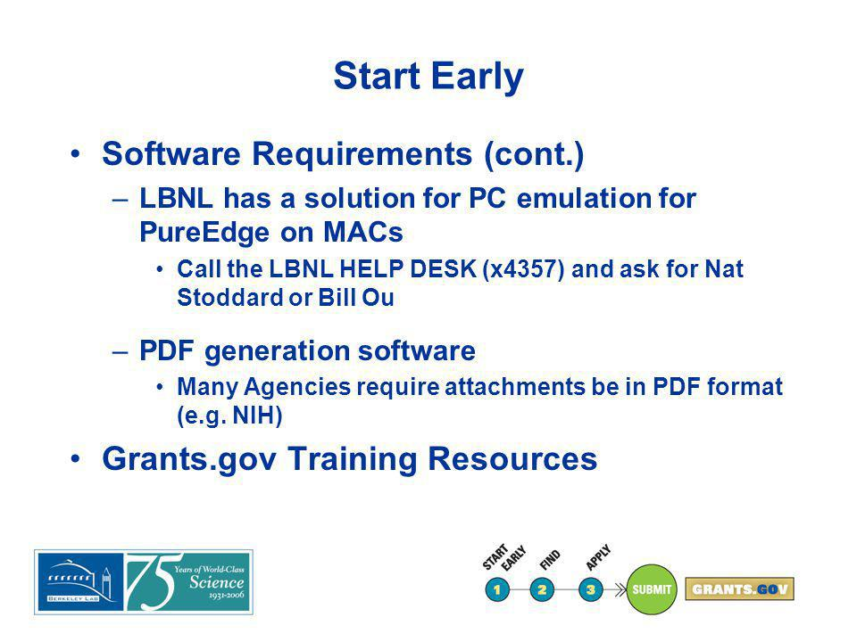 Start Early Software Requirements (cont.) –LBNL has a solution for PC emulation for PureEdge on MACs Call the LBNL HELP DESK (x4357) and ask for Nat S