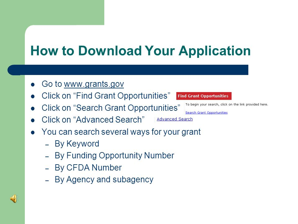 Download Adobe Software Go to   Click on the hyperlink to make sure you have correct version of adobe   Click on Apply for Grants
