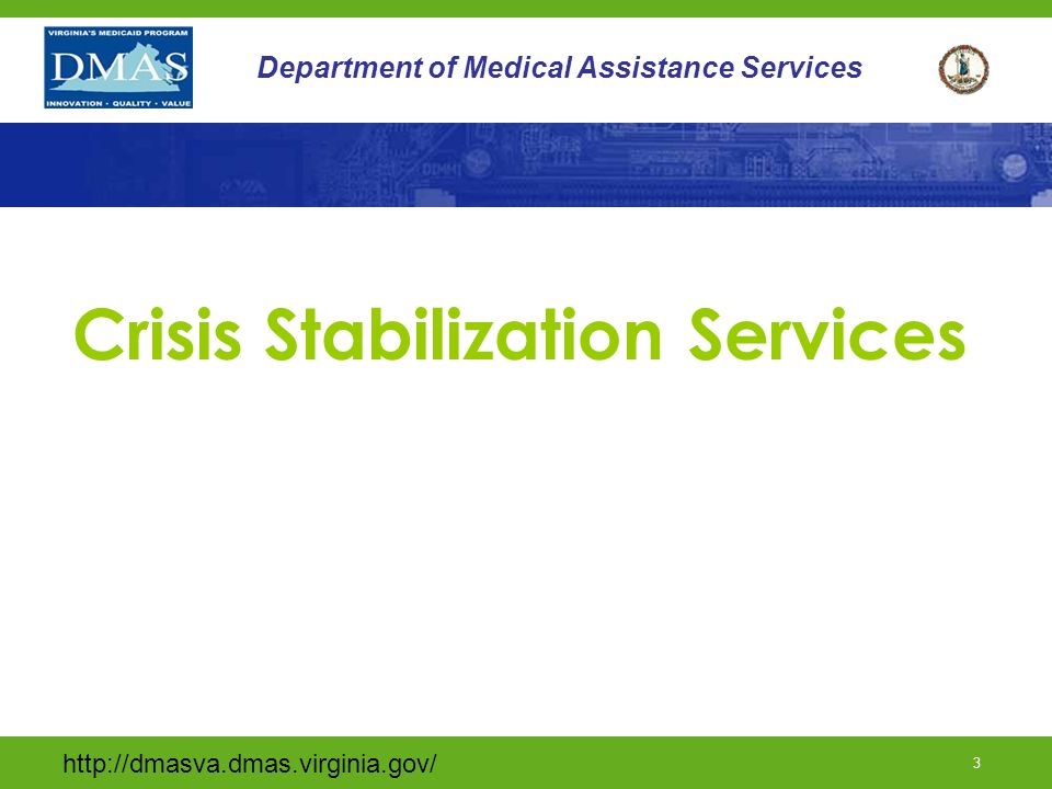 http://dmasva.dmas.virginia.gov/ 2 Department of Medical Assistance Services Today's Training Goal To enhance the knowledge of Direct Services Providers in areas of service provision, documentation, utilization review and billing procedures, and to provide updates on the current status of the Individual and Families Developmental Disabilities Support Waiver