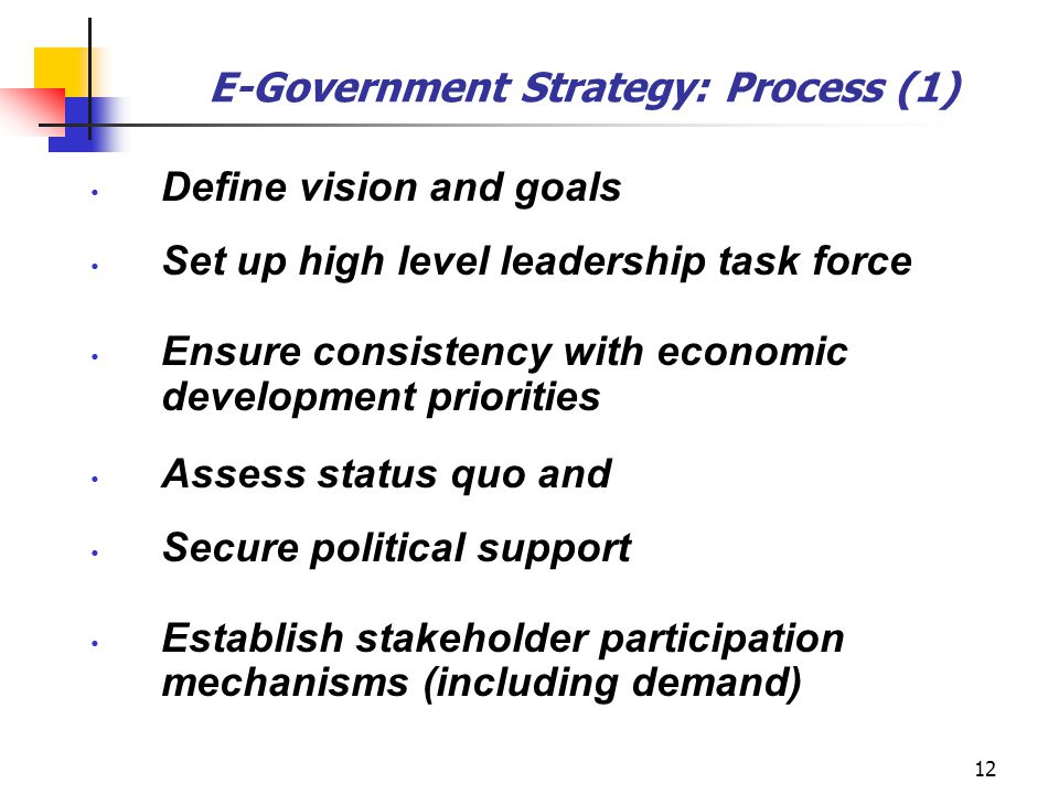 12 E-Government Strategy: Process (1) Define vision and goals Set up high level leadership task force Ensure consistency with economic development pri