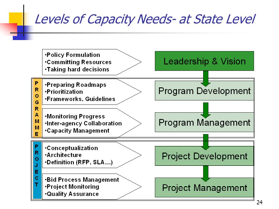 24 Levels of Capacity Needs- at State Level