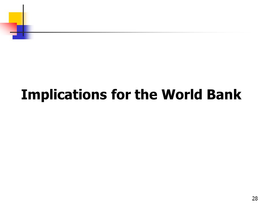 28 Implications for the World Bank