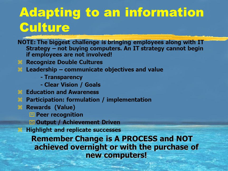 Adapting to an information Culture NOTE: The biggest challenge is bringing employees along with IT Strategy – not buying computers.