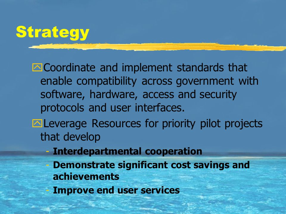 Strategy yCoordinate and implement standards that enable compatibility across government with software, hardware, access and security protocols and user interfaces.