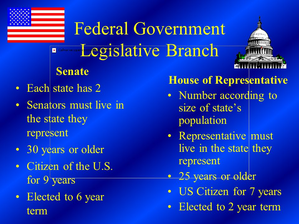 Federal Government Legislative Branch House of Representative Number according to size of state's population Representative must live in the state they represent 25 years or older US Citizen for 7 years Elected to 2 year term Senate Each state has 2 Senators must live in the state they represent 30 years or older Citizen of the U.S.