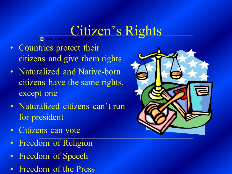 Citizen's Rights Countries protect their citizens and give them rights Naturalized and Native-born citizens have the same rights, except one Naturalized citizens can't run for president Citizens can vote Freedom of Religion Freedom of Speech Freedom of the Press