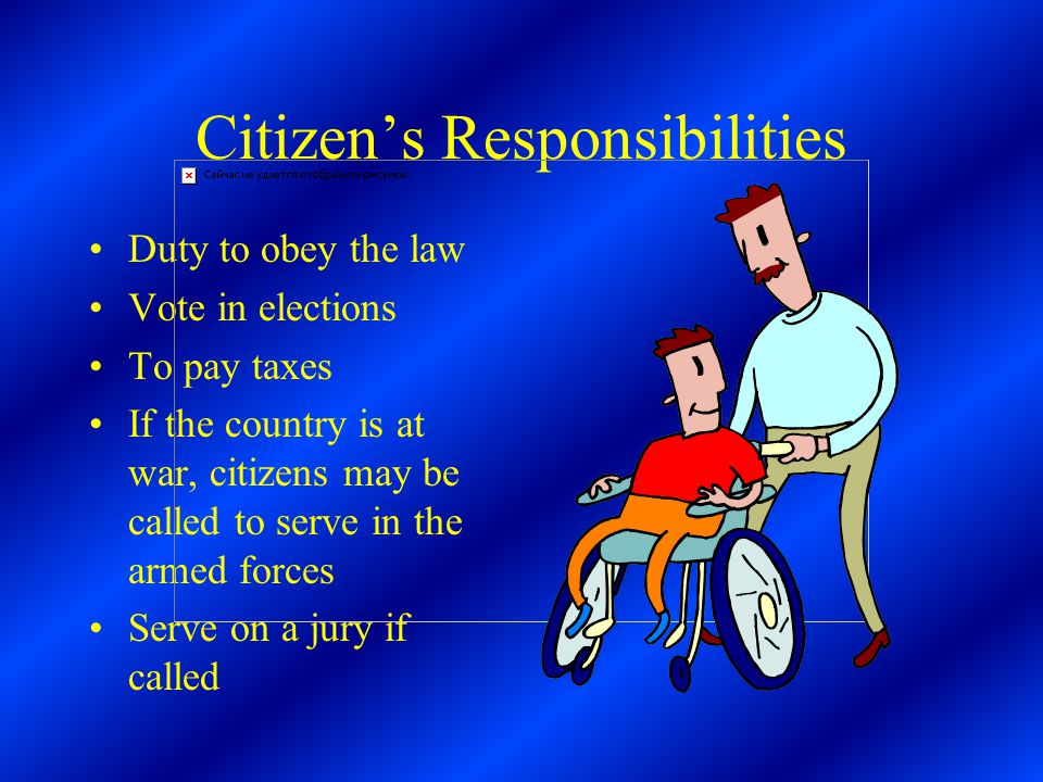 Citizen's Responsibilities Duty to obey the law Vote in elections To pay taxes If the country is at war, citizens may be called to serve in the armed forces Serve on a jury if called