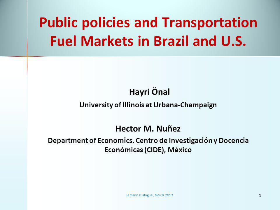 Policy Research Issues World Biofuel demand is growing along with the food demand, production resources are limited Already a significant amount of land is allocated to the production of biofuel feedstocks in Brazil (~8 million ha) and US (~16 million ha).