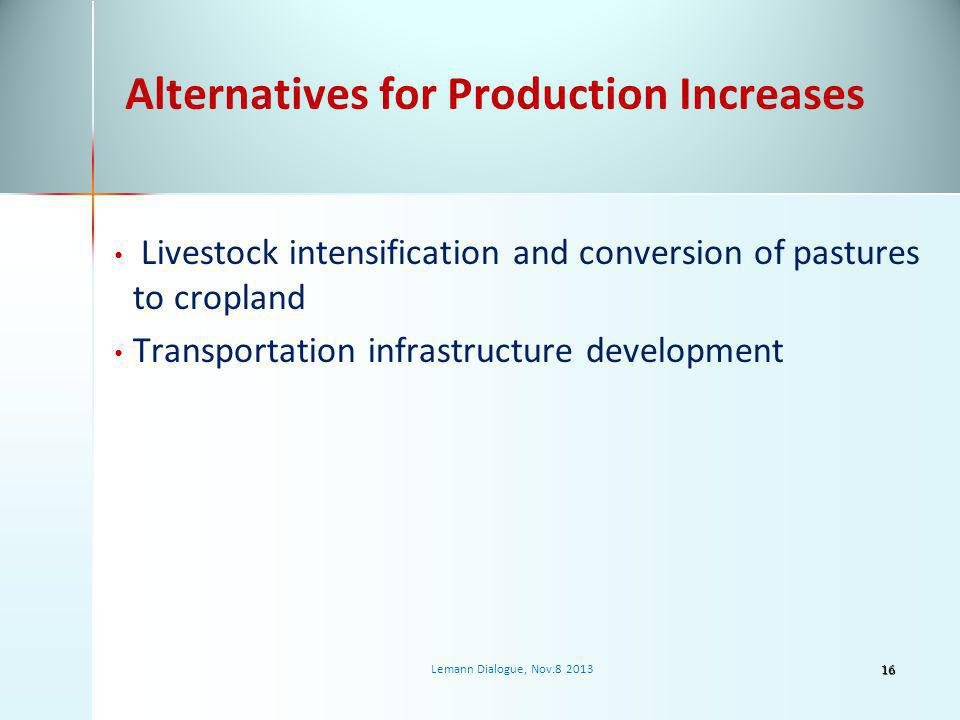 Alternatives for Production Increases Livestock intensification and conversion of pastures to cropland Transportation infrastructure development 16 Lemann Dialogue, Nov