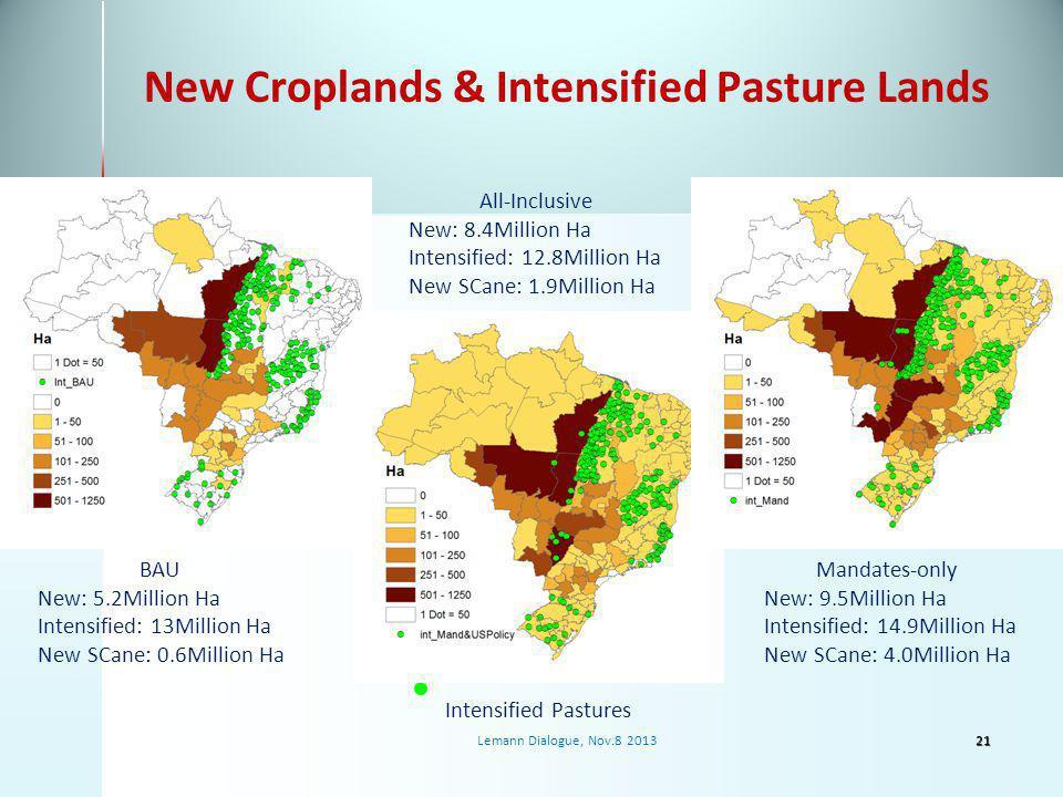 New Croplands & Intensified Pasture Lands BAU New: 5.2Million Ha Intensified: 13Million Ha New SCane: 0.6Million Ha All-Inclusive New: 8.4Million Ha Intensified: 12.8Million Ha New SCane: 1.9Million Ha Mandates-only New: 9.5Million Ha Intensified: 14.9Million Ha New SCane: 4.0Million Ha Intensified Pastures 21Lemann Dialogue, Nov.8 2013